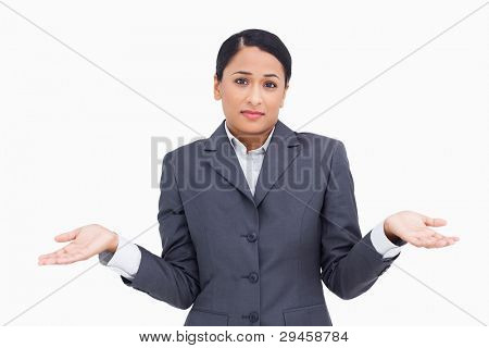 Close up of clueless saleswoman against a white background