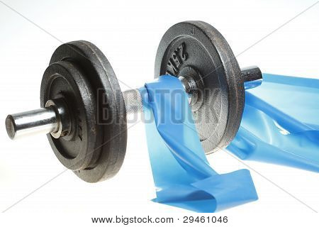 dumbbell and elastic band