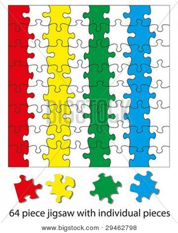 64 piece jigsaw puzzle blank. When used with a vector program each piece can be colored individually and be moved around or deleted to create different effects.