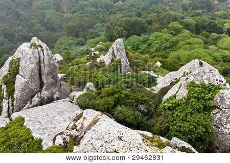 Rocks In Moorish Castle Near Lisbon, Portugal