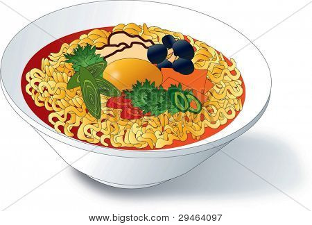 Tasty and Spicy Ramen in a Bowl isolated on white background
