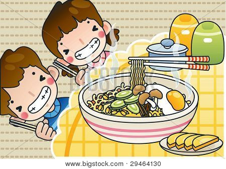 Smiling Cute Young Boy and Lovely Girl with Tasty Spicy Ramen in a snack bar