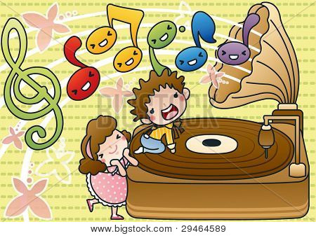 Lovely Smiling Young Children and Happy Song with cute old record player