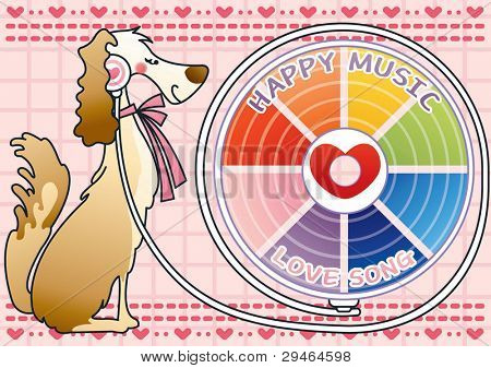 Cute Smiling Dog with Happy Music on pink background