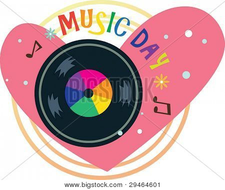 Vinyl record on Pink heart symbol isolated on white background