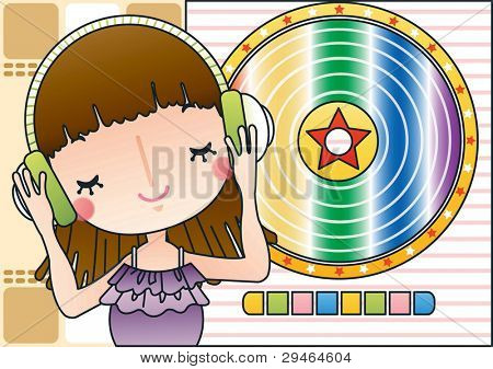 Cute Smiling Young Girl with Sweet Melody on background of cute record player