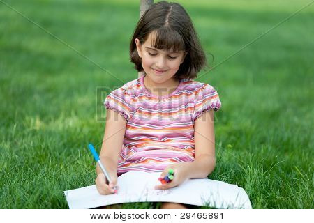 Drawing Girl In The Park