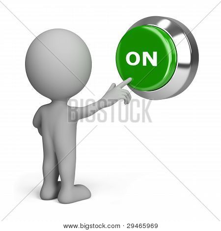 3D Person Pressing The Button On