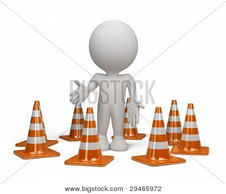 3D Person With A Traffic Cone