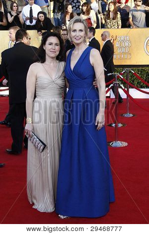 LOS ANGELES, CA - JAN 29: Jane Lynch and Lara Embry at the 18th annual Screen Actor Guild Awards at the Shrine Auditorium on January 29, 2012 in Los Angeles, California