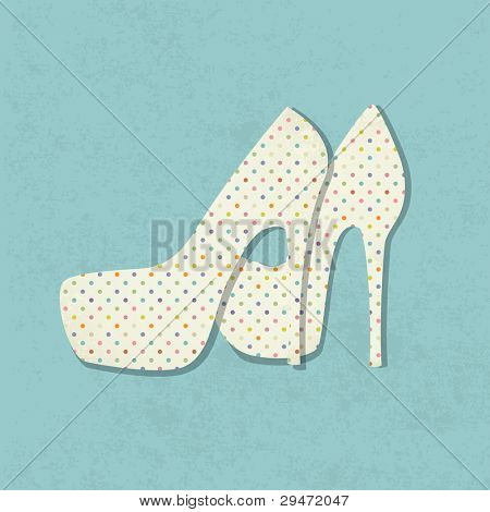 Vintage Background with paar hohe hochhackigen Frau Schuhe mit Polka Dot Stoff