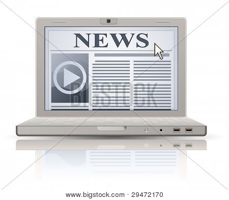 Online News. Laptop and news website.