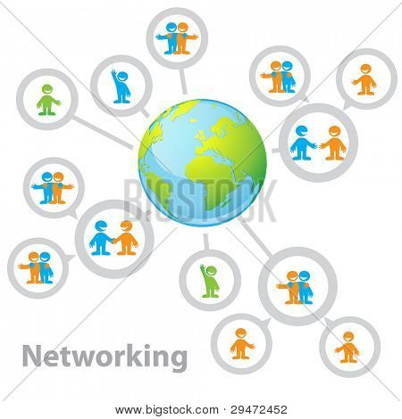 International Network - connecting people: information, business, friendship, communication of interests. Vector illustration.
