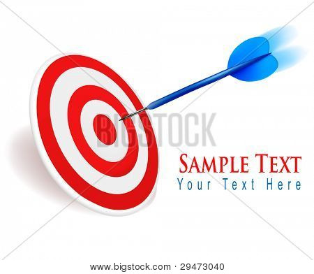 Dart hitting a target. Success concept. Vector illustration