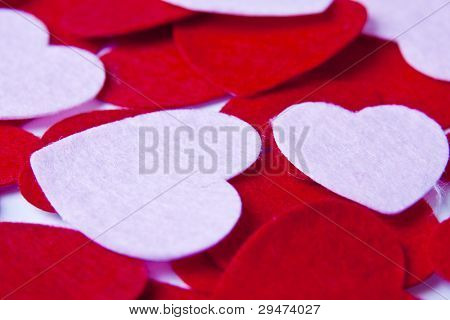 An Assortment Of Felt Hearts