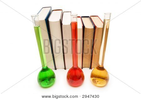 Tubes And Books Isolated On The White Background