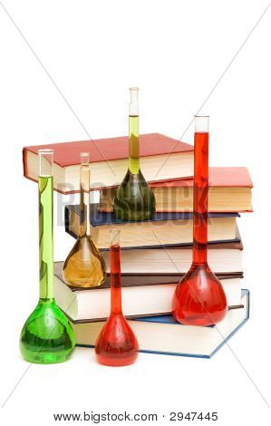Books And Tubes Isolated On The White Background