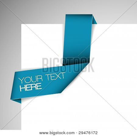 Vector Blue Paper origami ribbon / bookmark