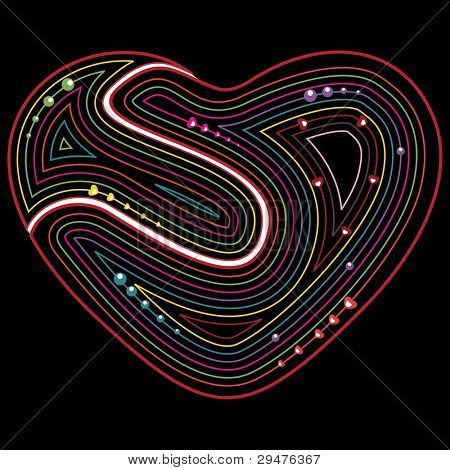 abstract greeting card with colorful retro heart shape on black background for Valentines Day and other occasions.