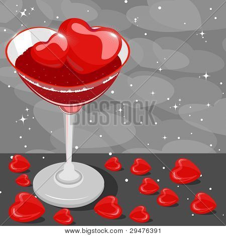 heart wine glass fill with wine and heart ice cube on gray heart background for Valentines Day and other occasions.