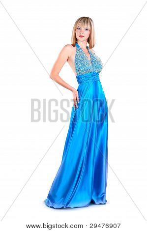 Attraction Young Woman Wearing Blue Gown Isolated On White Background