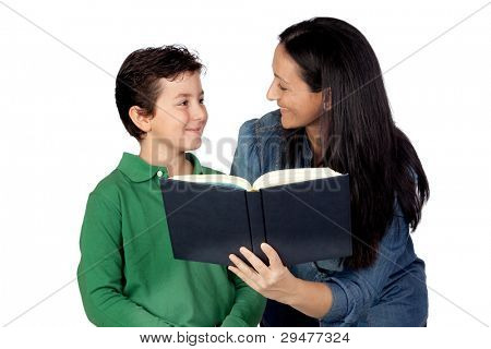 Mother and son with a book isolated on white background