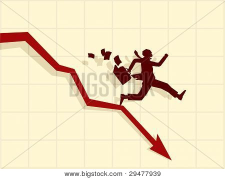 Raster version concept of financial crisis, businessman on red arrow