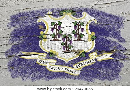 Flag Of Us State Of Connecticut On Grunge Wooden Texture Precise Painted With Chalk