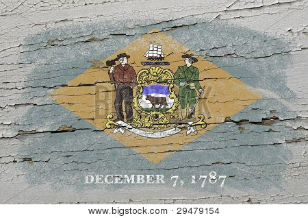 Flag Of Us State Of Delaware On Grunge Wooden Texture Precise Painted With Chalk