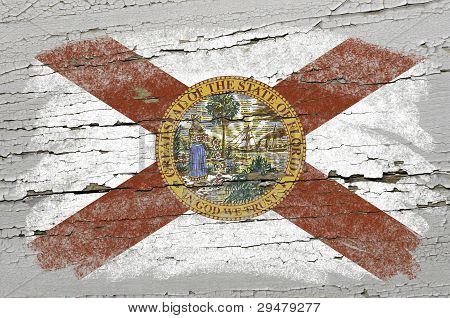 Flag Of Us State Of Florida On Grunge Wooden Texture Precise Painted With Chalk