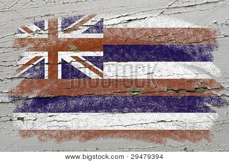 Flag Of Us State Of Hawaii On Grunge Wooden Texture Precise Painted With Chalk