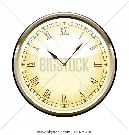 Old fashioned clock with roman numerals