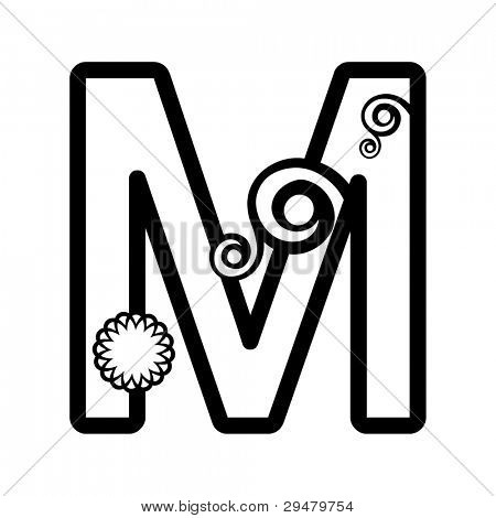 abstract floral ABC, ornamental letter M isolated on white background