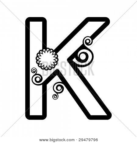 abstract floral ABC, ornamental letter K isolated on white background
