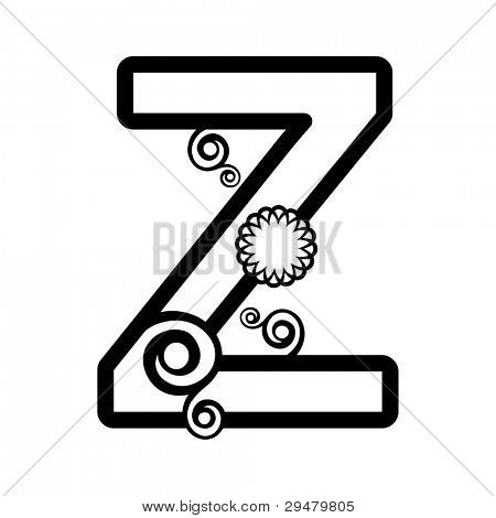 abstract floral ABC, ornamental letter Z isolated on white background