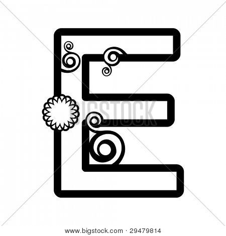 abstract floral ABC, ornamental letter E isolated on white background