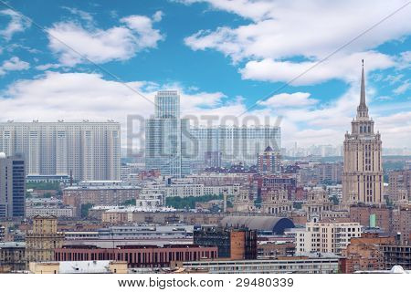 Skyscrapers at day in Moscow, Russia. House on Begovaya, Hotel Ukraine, office center North Tower