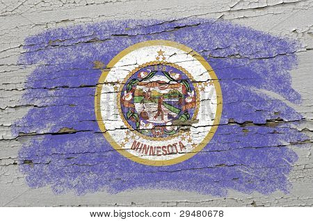 Flag Of Us State Of Minnesota On Grunge Wooden Texture Precise Painted With Chalk