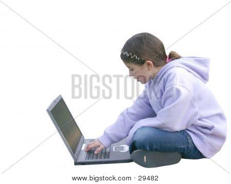 Girl On Computer 4 poster