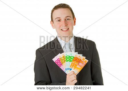 Businessman Holding Euro Banknotes