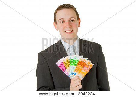Businessman Holding Euro Banknotes