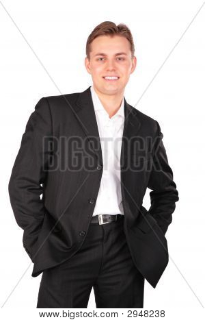 Young Man In Suit Posing