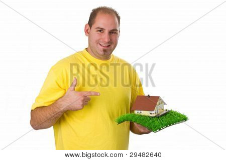 Young Man With Model House
