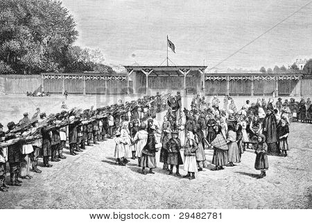 City children's garden in St. Petersburg. Engraving by Shlipper. Published in magazine