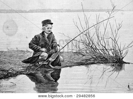 "A boy fishes. Engraving by Rashevsky from picture by painter Rashevsky. Published in magazine ""Niva"", publishing house A.F. Marx, St. Petersburg, Russia, 1893"