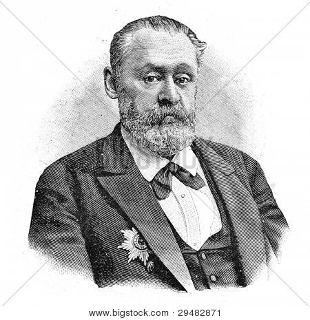 "Academician A. Strauch. Engraving by Schyubler. Published in magazine ""Niva"", publishing house A.F. Marx, St. Petersburg, Russia, 1893"