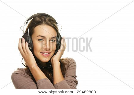 happy beautiful woman listening to music