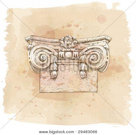 die Hand zeichnen Zeichnung Chapiter. Vektor-Illustration.
