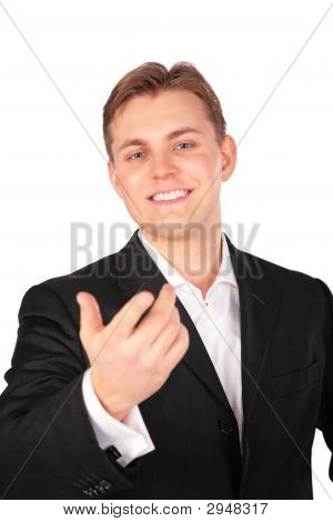 Young Man In Suit Gesture Hand Forward