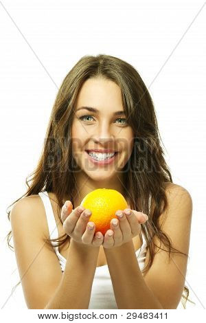 happy woman with a orange
